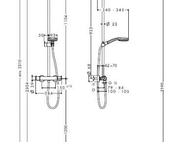 hauteur robinet douche italienne