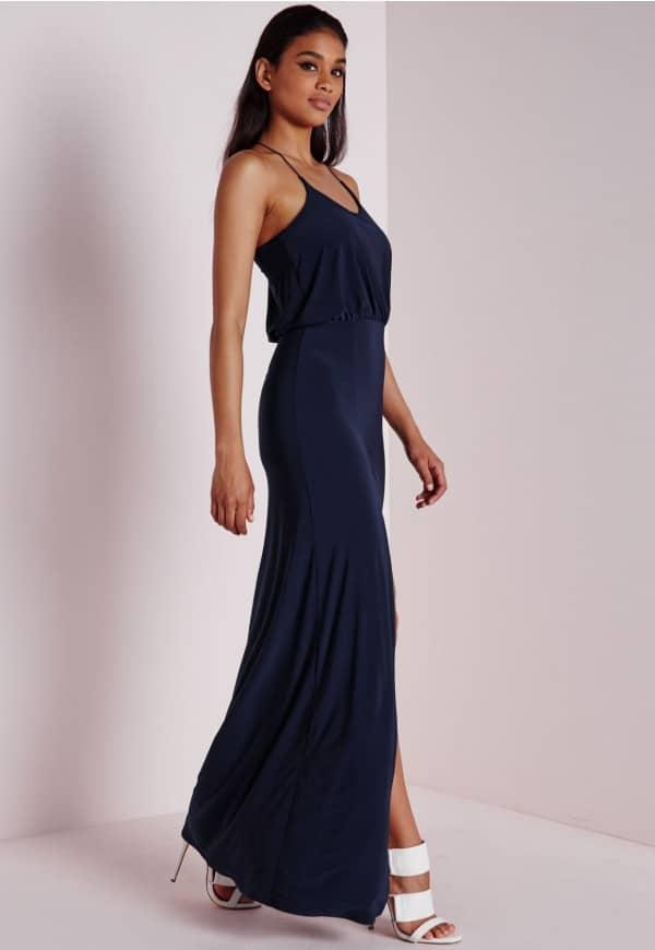 robe longue bleu marine